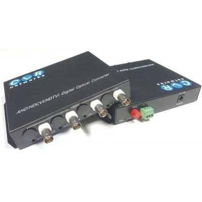 4 Kanal 1080P AHD Video + PTZ Data Fiber Optik Çevirici CLR-AHD-4FHD