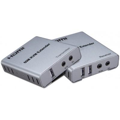 CLR-AVS-6100 @ KVM Extender HDMI + USB 60m 1080P 60Hz with Audio Out