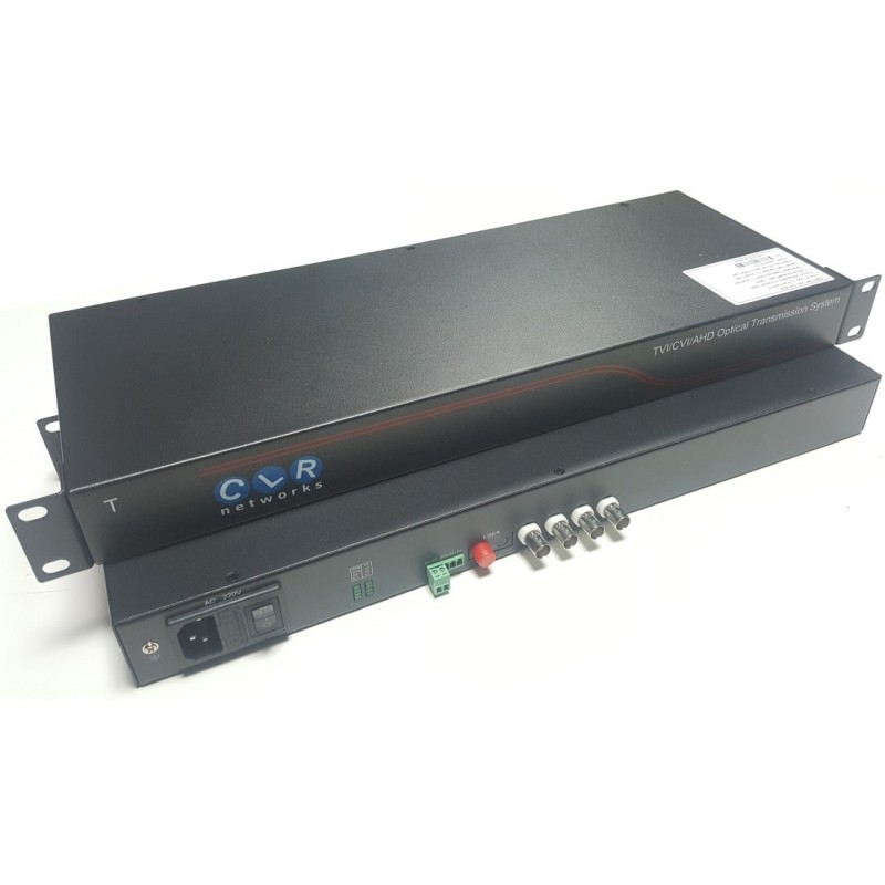 CLR-HDV-A504R @ 4 Kanal 5 Megapixel AHD Video + PTZ Data Fiber Optik Çevirici