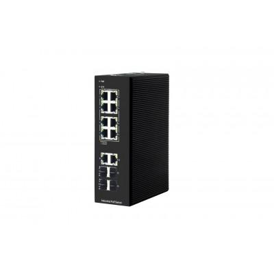 10 Port Gigabit RJ45  + 4*SFP Yönetilebilir Endüstriyel PoE Switch # CLR-IES-7214P