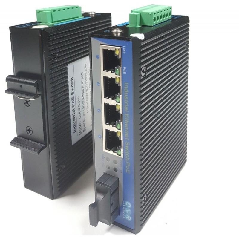 CLR-IES-41P @ 4*10/100M RJ45 PoE + 1*100M SC SM Endüstriyel PoE Switch