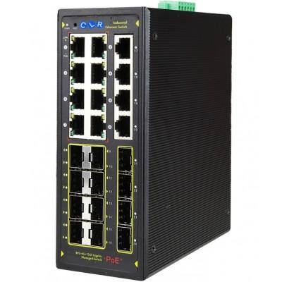 CLR-IES-G212P @ Yönetilebilir Omurga 8*RJ45 POE + 4*RJ45 POEsiz+ 12*1G SFP Endüstriyel PoE Switch