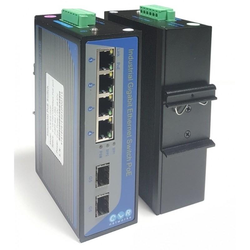 CLR-IES-G42P @ 4*10/100/1000Base-TX RJ45 POE + 2*Gigabit SFP Endüstriyel PoE Switch