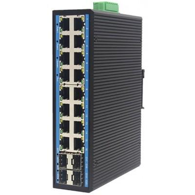 CLR-IES-L2164 @ Yönetilebilir 16*RJ45 + 4*SFP Endüstriyel Switch L2+ Ring
