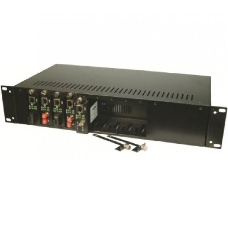 "CLR-MCR-1402 @ Media Converter Rack 19"" 2U 14-Slot Dual DC Power"
