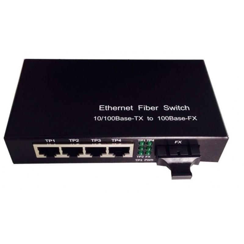 CLR-SWF-41S @ Fastethernet Mini Switch 4*10/100M RJ45 1*100M SC DX