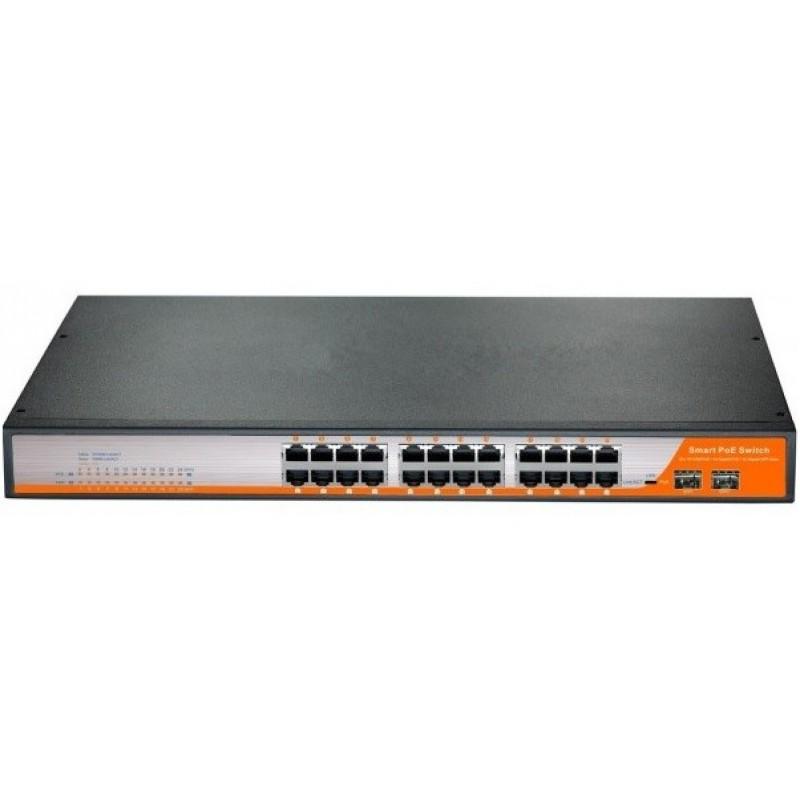 CLR-SWG-3026P @ Gigabit Ethernet PoE Switch 24*RJ45 PoE + 2*SFP Managed L2+