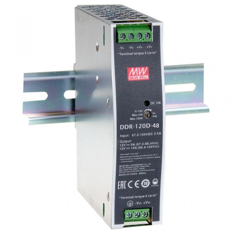 DDR-120D-48 @ DIN Rail DC/DC Çevirici 67.2~154 VDC - 48VDC 120W 2.5A